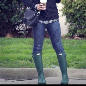 Green Hunter tall rain boots